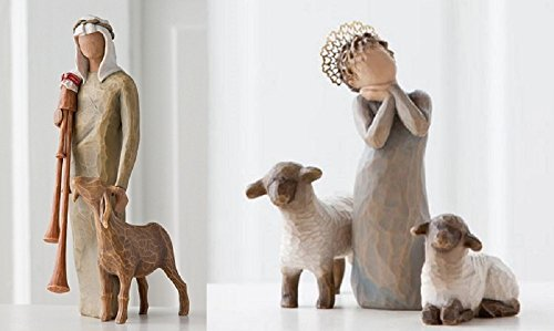 Willow Tree Zampognaro Shepherd and Little Shepherdess Nativity Figurine Set (Tree Nativity Willow Set)