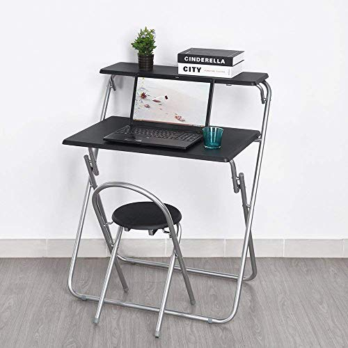 Aingoo Folding Computer Desk Chair Set 30'' Small Writing Table for Home Office/Teens Student Space Saving Mobile Workstation with 2 Shelves Black by Aingoo (Image #6)