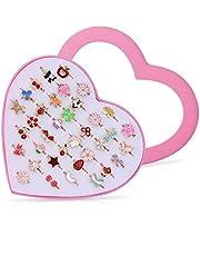 Vordas 36 Pièces Bagues pour Enfants, Ensemble de Bagues Petites Filles avec Boîte De Coeur Rose, Super Jolie et Belle Présentation pour Un Cadeau à Une Petite Fille