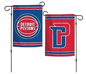 """NBA Detroit Pistons 12.5"""" x 18"""" Inch 2-Sided Garden Flag Logo"""
