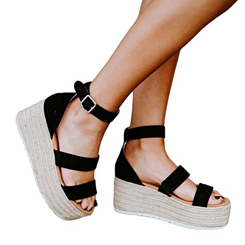 (Liyuandian Womens Open Toe Ankle Strap Sandals Espadrilles Platform Wedge Sandal Ankle Strap Mid Heel Shoes (7 M US, 4-Black))