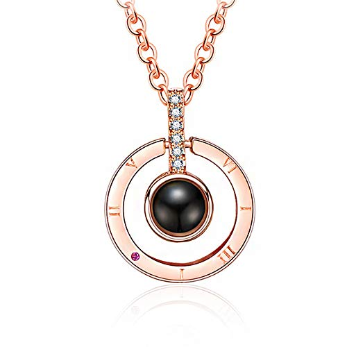 Boormanie 18k Rose Gold Plated I Love You Necklace 100 Languages,100 Different Languages for I Love You Projection on Round Onyx Pendant Memory of Love Nanotechnology Pendant Necklace