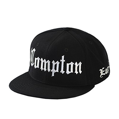 Yourstyle USA Compton Eazy E Flat Stitching Flat Bill Black Snapback Hat (Adjustable, (Eazy E Compton Hat)
