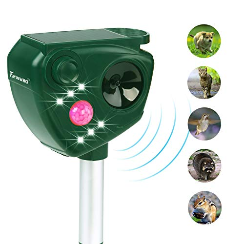FAYINWBO Animal Pest Repeller, Solar Powered Ultrasonic Pest Repellent, Outdoor Waterproof Pest Control,Motion Activated LED Lights Repels Raccoons, Cats and Dogs, Squirrels, Foxes, Skunks, Rabbit,etc
