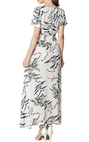 Button Bohemian Flower5 Long Print up Split Dress Floral Maxi Boho Women's ARANEE pPq6wz56