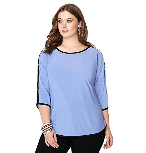 Avenue Women's Tipped Button Sleeve Top, 22/24 Lavender