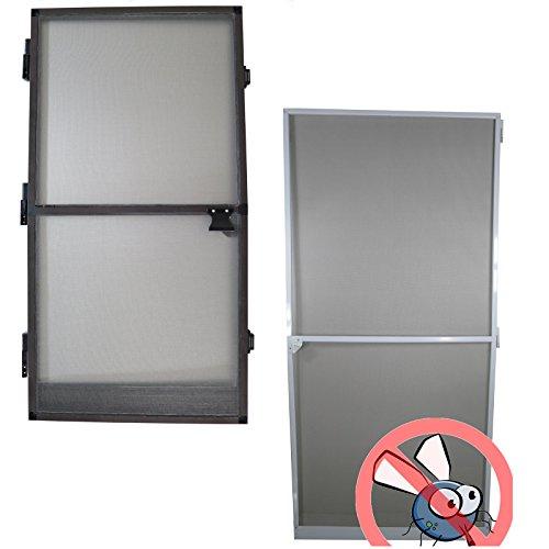 Fliegengitter Tür Größe und Farbe wählbar - Insektenschutz Alurahmen Fliegenschutz Mückenschutz weiß braun (120 x 240 cm, Weiß)