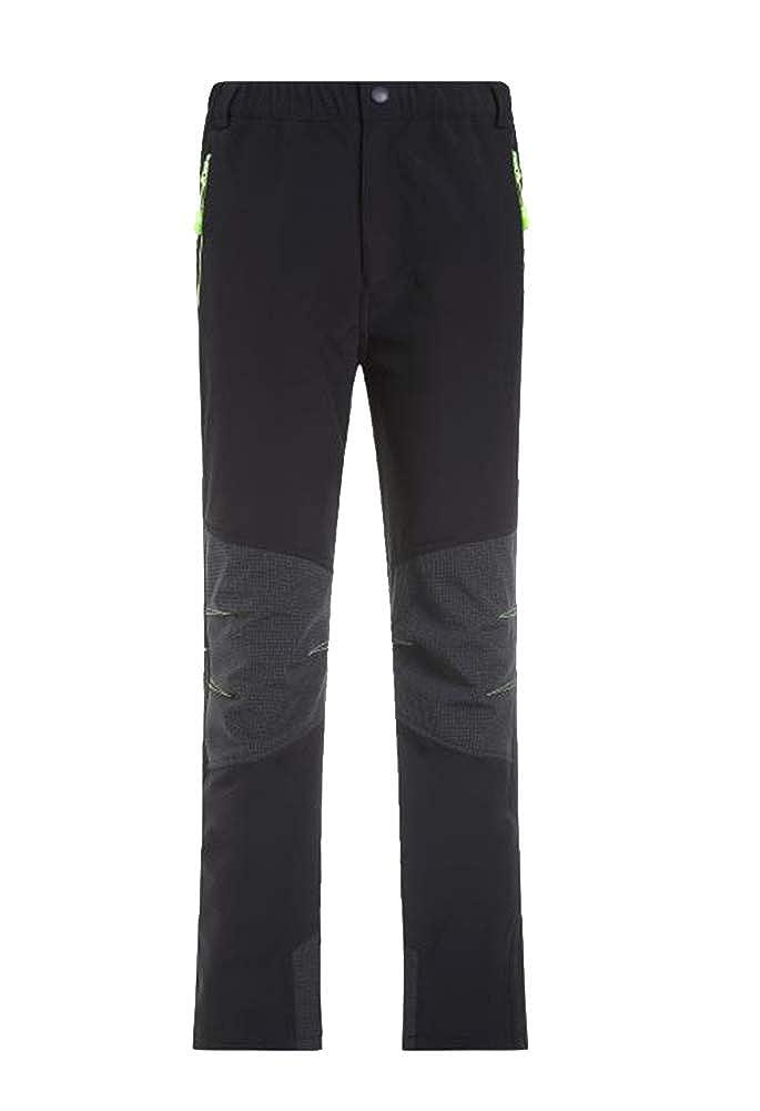 Runyue Bambino Outdoor Pantaloni Softshell Impermeabili Caldi Traspiranti Pantalone da Escursione