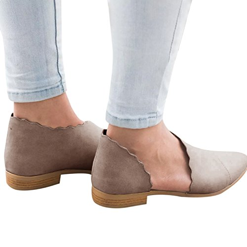 Huiyuzhi Womens Flats Side Cut Out Low Stacked Heel Ankle Bootie Slip On Shoes Khaki yJ3KAQlr
