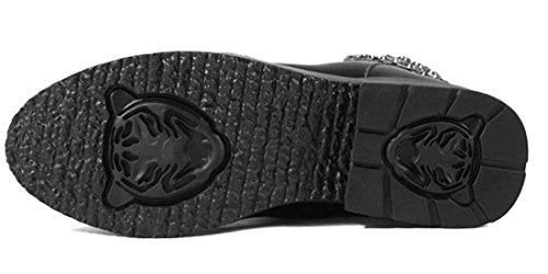 Blockabsatz Lace Chunky Mid up Lady Schuhe Neu Casual Frauen Ankle mit Stiefel Baumwolle Plateau Schwarz ZSUnq4