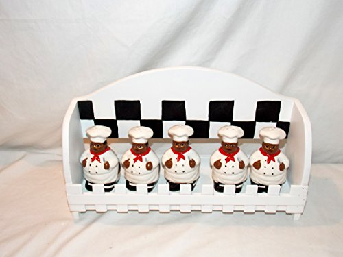 Retired Collectible African American Black Chef Cook 5 Piece Spice Containers with Wooden Rack