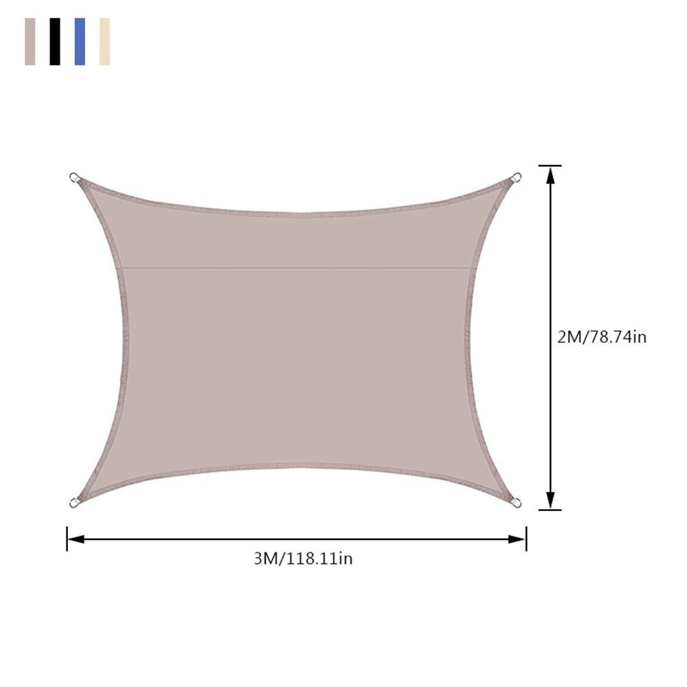 98/% UV Block Awning Canopy Waterproof Garden Oxford Awning With Free Rope Beige Volwco 2m x 3 m Rectangle Sun Shade Sail for Outdoor