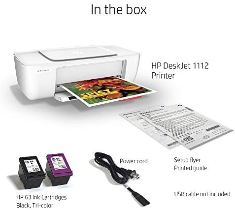 HP DeskJet 1112 Compact Printer (F5S23A) with XL High Yield Ink Cartridges Bundle