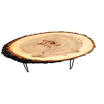 Modern Solid Natural Wood Round Slab End Table (Coffee-Table-Culr-Legs2)