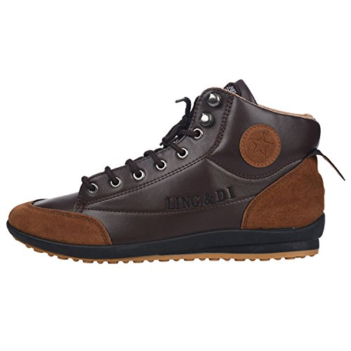 SODIAL (R) Hombres ocasional invierno del Alto-top zapatos de terciopelo calidas botas impermeables Zapatillas Marron oscuro( Tamano: 41 )
