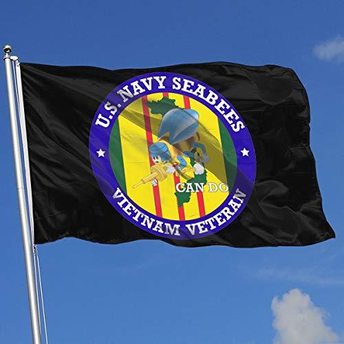 TJHJOL U.S. Navy Seabees Vietnam Veteran 3x5 Feet Flag for House