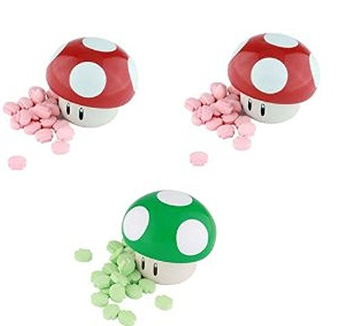 Nintendo Mushroom Sours Candy Tin x 3 (2 X Red Mushroom and 1 X Green Mushroom)