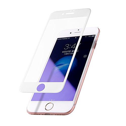 振るう凝視見落とすLuxtude iPhone 7 専用 フィルム 【ブルーライトカット】強化ガラス液晶保護フィルム 3Dラウンドエッジ加工 高透過率/3D touch 対応/気泡ゼロ/硬度9H (iPhone 7, ホワイト)
