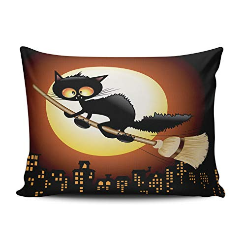 AIHUAW Home Decorative Cushion Covers Throw Pillow Case Halloween Black Cat Cartoon Flying on Witch Broom Pillowcases Boudoir 12x16 Inches One Sided Printed (Set of 1)]()
