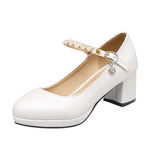 MissSaSa Damen Chunky heel Plateau Knöchelriemchen Pumps mit künstlich Perlen Weiß
