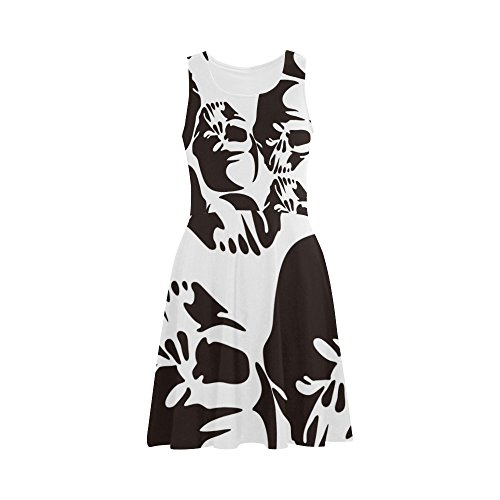 Women's Sugar Skull Dia De Los Muertos Polyester Casual Sundress M (Morphsuit Sun Glasses)