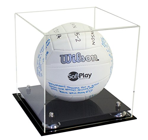 Deluxe Clear Acrylic Volleyball Display Case with Silver Risers (A027-SR)