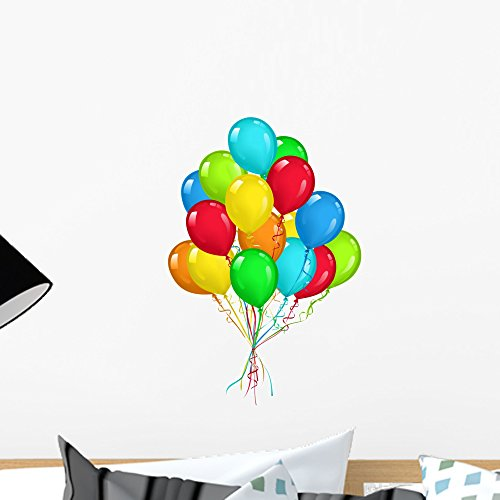 Wallmonkeys Balloons Bouquet Wall Decal Peel and Stick Graphic WM133417 (18 in H x 14 in W)