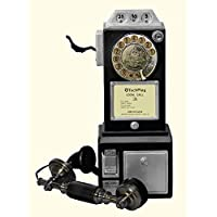TechPlay CP26 BLK Retro Classic Rotary Dial public phone with classic handset design.