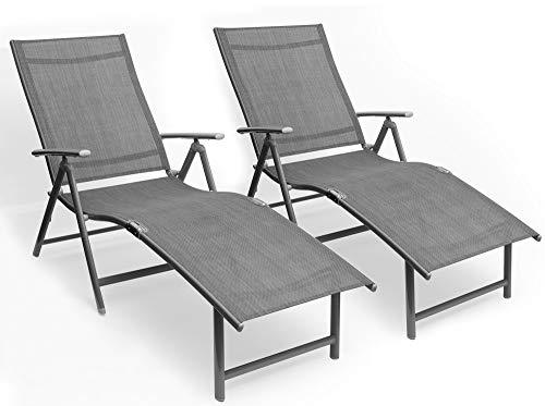 Kozyard Cozy Aluminum Beach Yard Pool Folding Reclining Adjustable Chaise Lounge Chair (2, Gray)