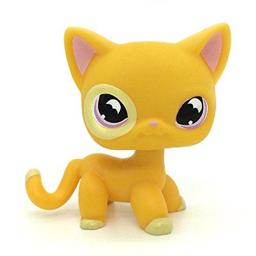 DZH #855 Littlest Pet Shop Rare Yellow Orange Shorthair Cat Purple Moon Eyes LPS (Littlest Pet Shop Shorthair Cats)