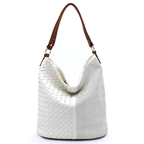 Vegan Faux Leather Woven and Perforated Shoulder Hobo Bags With Crossbody Strap (White/Brown) ()