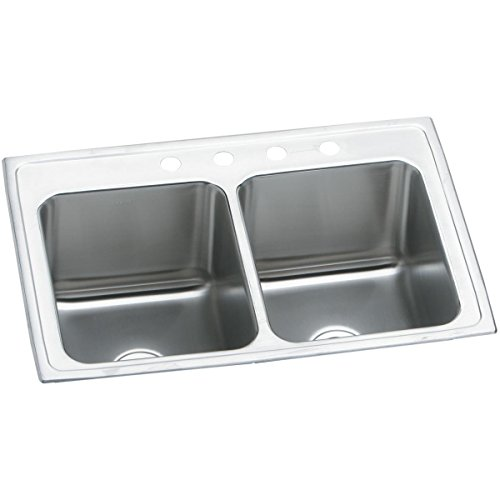Elkay Lustertone Classic DLR3322124 Equal Double Bowl Drop-in Stainless Steel Sink