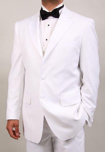 Men's 4 Piece White Tuxedo Suit Includes Tuxedo Vest & Bow Tie - Complete Package