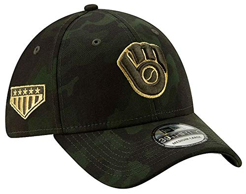 New Era 2019 MLB Milwaukee Brewers Hat Cap Armed Forces Day 39Thirty 3930 (L/XL) Green/Gold