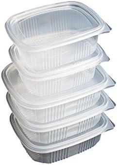 Pack de 50 recipientes desechables con tapa, para alimentos. APTA MICROONDAS. 500 cc PP 121x98x50 mm