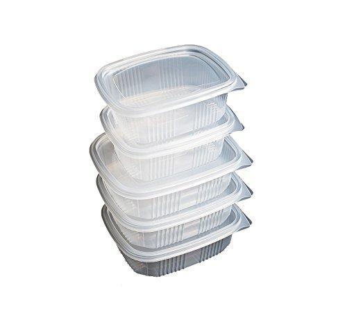 Pack de 50 recipientes desechables con tapa, para alimentos. APTA PARA MICROONDAS. 250 CC PP 95x75x40 mm