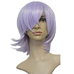 Angelaicos Unisex Curly Presytled Anime Party Cosplay Costume Wigs Short Light Purple