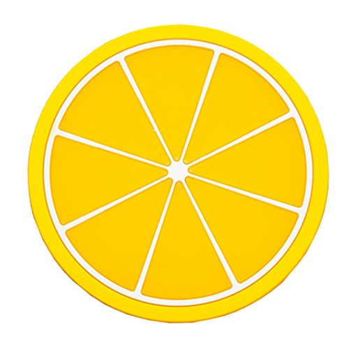 Vibola Cute Lemon Fruit Coaster Colorful Silicone Cup Drinks Holder Mat Tableware Placemat