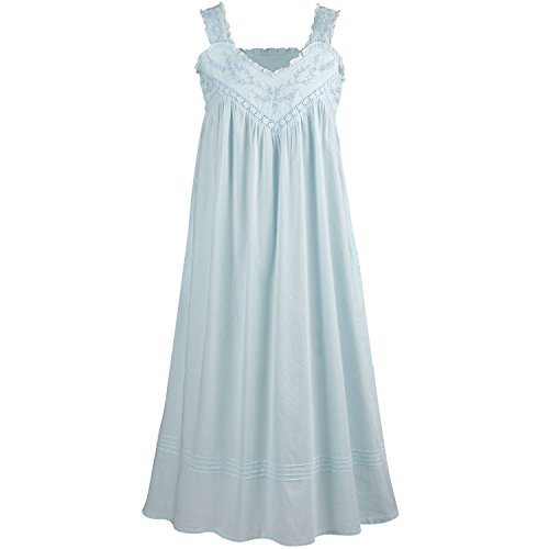 La Cera Cotton Chemise - Lace V-Neck Nightgown with Pockets Nightgown - Blue - Large