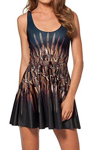 Digital gedruckte ärmelloses Plissee Fit/Frauen- und Flare Kleid