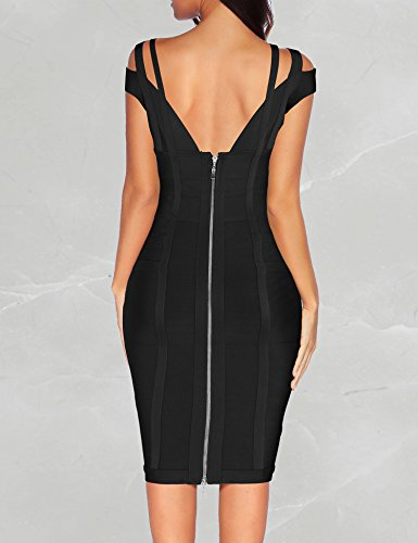 Women for Club Dress Bandage Party Shoulder Black Bodycon Dresses Off xR80q0
