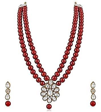 8a178e82f Buy CATALYST Maroon Pearl Necklace Set with Earrings