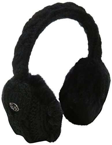 Turtle Fur Ear Muffin Faux Fur Lined Cable Knit Earmuffs Black