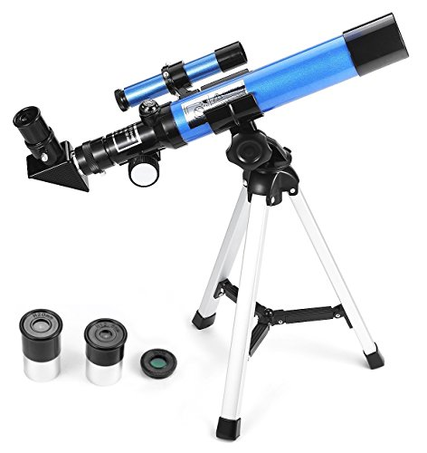 Refractor Telescope 400x40mm with Tripod & Finder Scope, Portable Telescope for Kids & Beginners, Travel Scope with Moon mirror, Stars & Moon map included