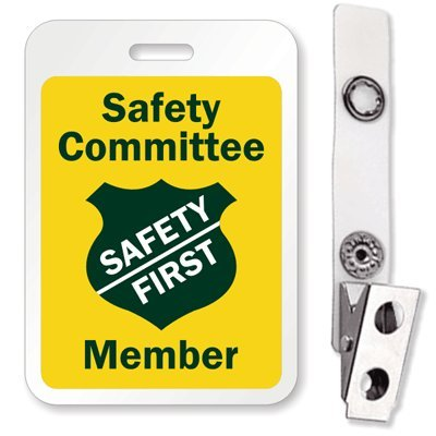 """SmartSign""""Safety Committee Safety First Member"""" Reusable ID Badge with Bulldog Clip   3"""" x 2.125"""""""