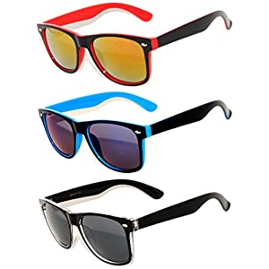 Retro Vintage 2 Tone Frame Sunglasses Silver Mirror Lens for Mens