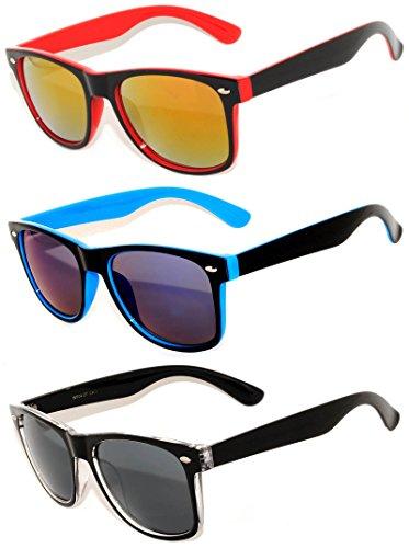 (Retro Vintage 2 Tone Frame Sunglasses Silver Mirror Lens for Mens)