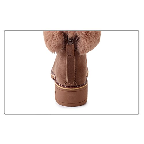 Btrada Botas De Nieve De Tobillo De La Mujer Botas Borlas De Piel Con Forro Zip Martin De Tacón Bajo Botines De Color Caqui