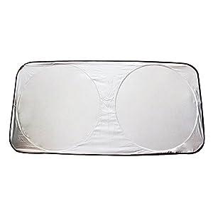 "Idealgo 59"" X 27"" Windshield Sunshade Silver Sunshade New Foldable Auto Front Rear Window Sun Shade Car Windshield Visor Cover Block Sun Protector - Masyah Car Windshield Sunshade Foldable Covers the Front Window to Keep Temperatures Cool on Hot"