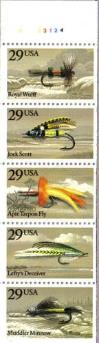 Us Stamps Booklet Pane - 1991 FISHING FLIES #2549a Booklet Pane of 5 x 29 cents US Postage Stamps